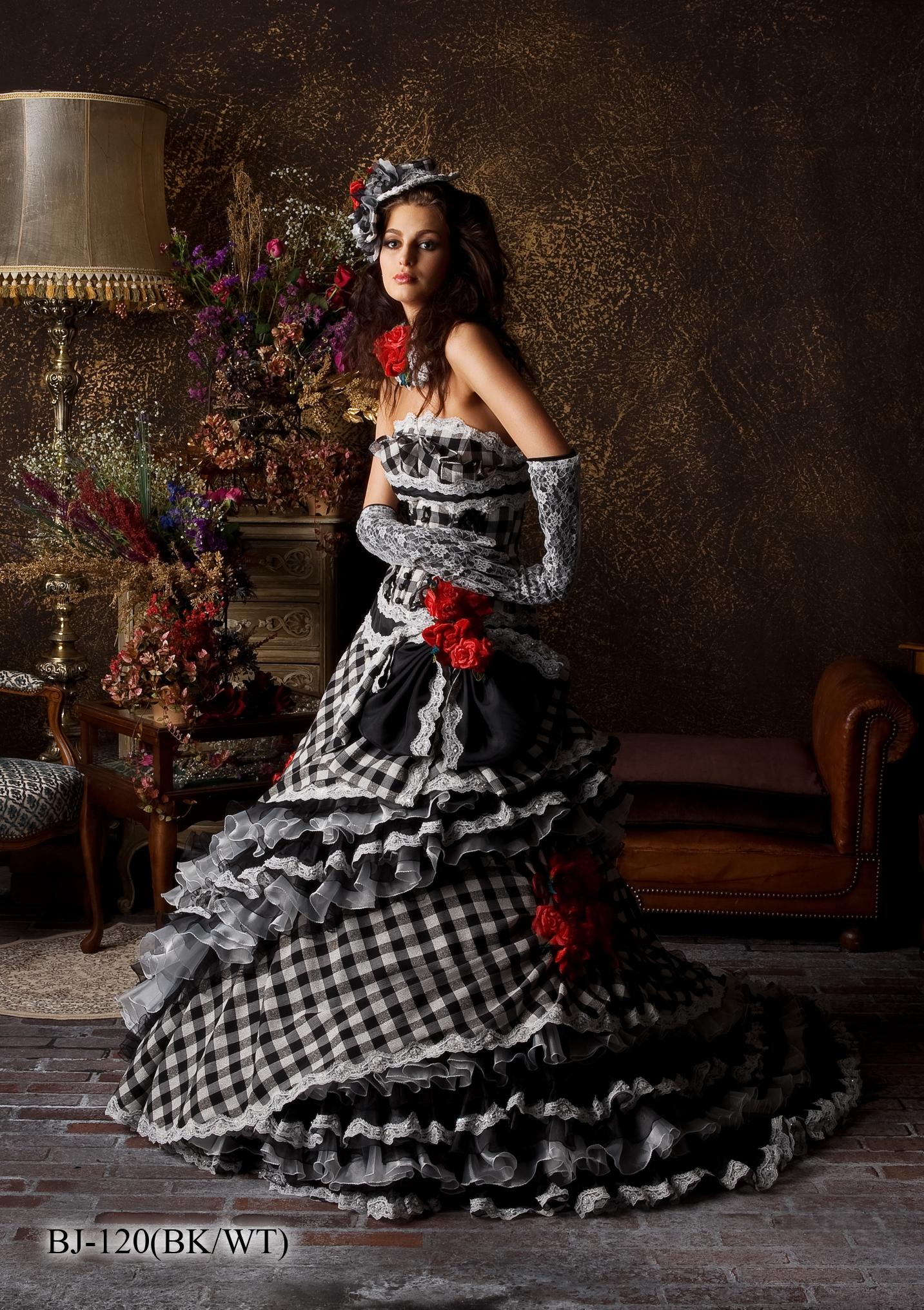 花嫁衣裳)(カラードレスレンタル)(貸衣裳)チェック柄ドレス